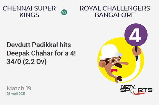 CSK vs RCB: Match 19: Devdutt Padikkal hits Deepak Chahar for a 4! RCB 34/0 (2.2 Ov). Target: 192; RRR: 8.94