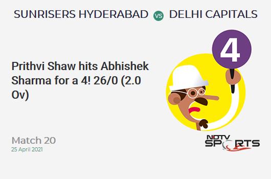 SRH vs DC: Match 20: Prithvi Shaw hits Abhishek Sharma for a 4! DC 26/0 (2.0 Ov). CRR: 13