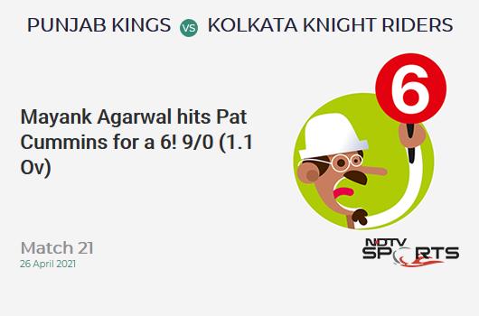 PBKS vs KKR: Match 21: It's a SIX! Mayank Agarwal hits Pat Cummins. PBKS 9/0 (1.1 Ov). CRR: 7.71