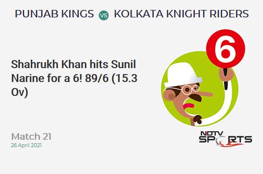 PBKS vs KKR: Match 21: It's a SIX! Shahrukh Khan hits Sunil Narine. PBKS 89/6 (15.3 Ov). CRR: 5.74