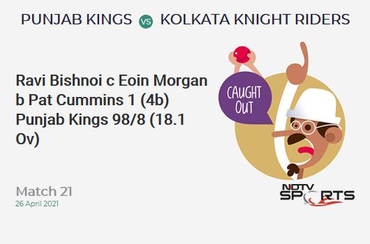 PBKS vs KKR: Match 21: WICKET! Ravi Bishnoi c Eoin Morgan b Pat Cummins 1 (4b, 0x4, 0x6). PBKS 98/8 (18.1 Ov). CRR: 5.39