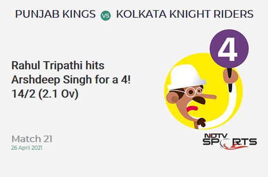 PBKS vs KKR: Match 21: Rahul Tripathi hits Arshdeep Singh for a 4! KKR 14/2 (2.1 Ov). Target: 124; RRR: 6.17