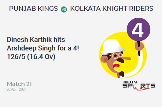 PBKS vs KKR: Match 21: Dinesh Karthik hits Arshdeep Singh for a 4! KKR 126/5 (16.4 Ov). Target: 124; CRR: 7.56