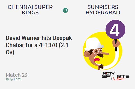 CSK vs SRH: Match 23: David Warner hits Deepak Chahar for a 4! SRH 13/0 (2.1 Ov). CRR: 6