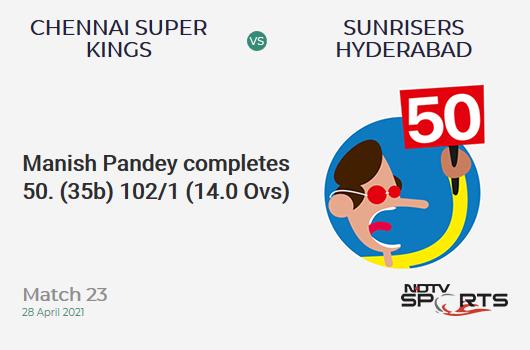 CSK vs SRH: Match 23: FIFTY! Manish Pandey completes 50 (35b, 4x4, 1x6). SRH 102/1 (14.0 Ovs). CRR: 7.29