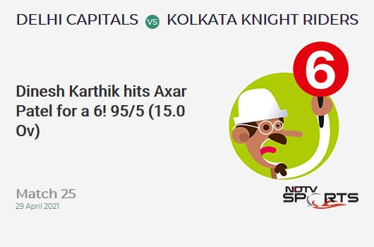 DC vs KKR: Match 25: It's a SIX! Dinesh Karthik hits Axar Patel. KKR 95/5 (15.0 Ov). CRR: 6.33
