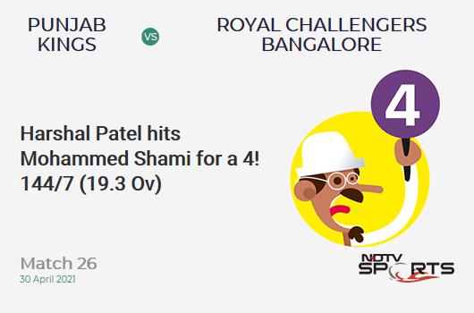 PBKS vs RCB: Match 26: Harshal Patel hits Mohammed Shami for a 4! RCB 144/7 (19.3 Ov). Target: 180; RRR: 72
