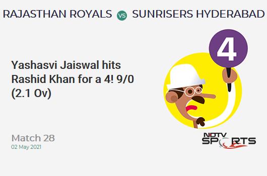 RR vs SRH: Match 28: Yashasvi Jaiswal hits Rashid Khan for a 4! RR 9/0 (2.1 Ov). CRR: 4.15