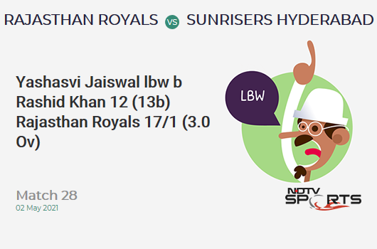 RR vs SRH: Match 28: WICKET! Yashasvi Jaiswal lbw b Rashid Khan 12 (13b, 2x4, 0x6). RR 17/1 (3.0 Ov). CRR: 5.67