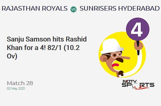 RR vs SRH: Match 28: Sanju Samson hits Rashid Khan for a 4! RR 82/1 (10.2 Ov). CRR: 7.94