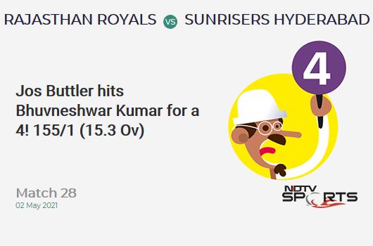RR vs SRH: Match 28: Jos Buttler hits Bhuvneshwar Kumar for a 4! RR 155/1 (15.3 Ov). CRR: 10