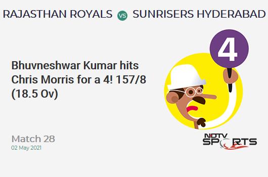RR vs SRH: Match 28: Bhuvneshwar Kumar hits Chris Morris for a 4! SRH 157/8 (18.5 Ov). Target: 221; RRR: 54.86