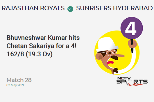 RR vs SRH: Match 28: Bhuvneshwar Kumar hits Chetan Sakariya for a 4! SRH 162/8 (19.3 Ov). Target: 221; RRR: 118.00