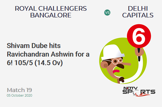 RCB vs DC: Match 19: It's a SIX! Shivam Dube hits Ravichandran Ashwin. Royal Challengers Bangalore 105/5 (14.5 Ov). Target: 197; RRR: 17.81