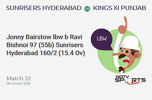 SRH vs KXIP: Match 22: WICKET! Jonny Bairstow lbw b Ravi Bishnoi 97 (55b, 7x4, 6x6). Sunrisers Hyderabad 160/2 (15.4 Ov). CRR: 10.21