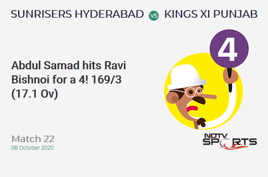 SRH vs KXIP: Match 22: Abdul Samad hits Ravi Bishnoi for a 4! Sunrisers Hyderabad 169/3 (17.1 Ov). CRR: 9.84