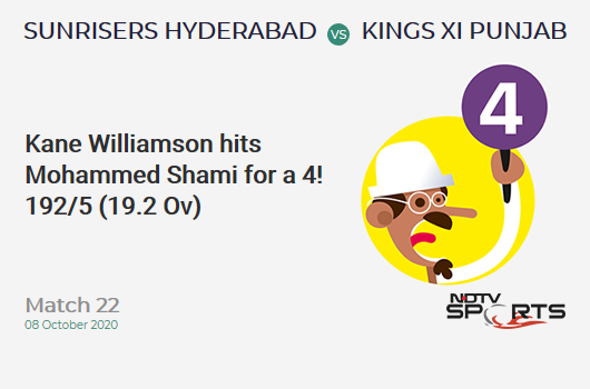 SRH vs KXIP: Match 22: Kane Williamson hits Mohammed Shami for a 4! Sunrisers Hyderabad 192/5 (19.2 Ov). CRR: 9.93