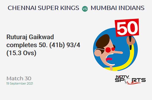 CSK vs MI: Match 30: FIFTY! Ruturaj Gaikwad completes 51 (41b, 6x4, 1x6). CSK 93/4 (15.3 Ovs). CRR: 6