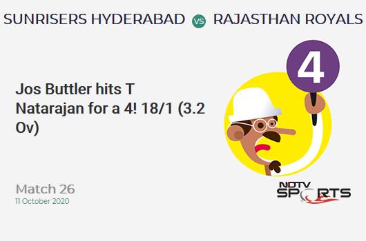SRH vs RR: Match 26: Jos Buttler hits T Natarajan for a 4! Rajasthan Royals 18/1 (3.2 Ov). Target: 159; RRR: 8.46