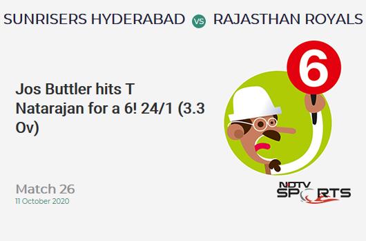 SRH vs RR: Match 26: It's a SIX! Jos Buttler hits T Natarajan. Rajasthan Royals 24/1 (3.3 Ov). Target: 159; RRR: 8.18