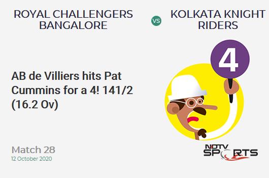 RCB vs KKR: Match 28: AB de Villiers hits Pat Cummins for a 4! Royal Challengers Bangalore 141/2 (16.2 Ov). CRR: 8.63