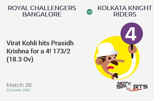 RCB vs KKR: Match 28: Virat Kohli hits Prasidh Krishna for a 4! Royal Challengers Bangalore 173/2 (18.3 Ov). CRR: 9.35