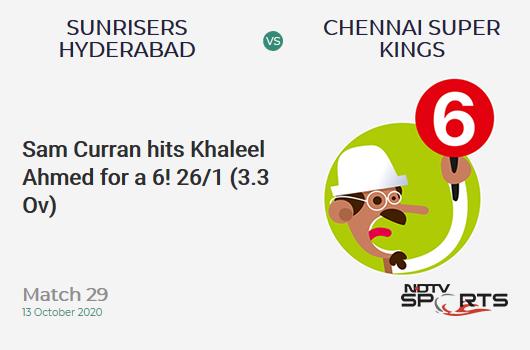 SRH vs CSK: Match 29: It's a SIX! Sam Curran hits Khaleel Ahmed. Chennai Super Kings 26/1 (3.3 Ov). CRR: 7.42