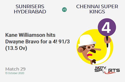 SRH vs CSK: Match 29: Kane Williamson hits Dwayne Bravo for a 4! Sunrisers Hyderabad 91/3 (13.5 Ov). Target: 168; RRR: 12.49