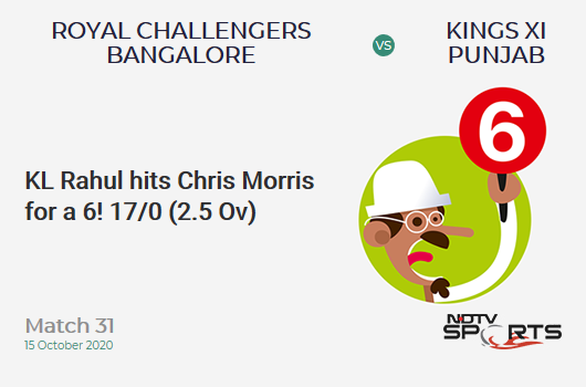 RCB vs KXIP: Match 31: It's a SIX! KL Rahul hits Chris Morris. Kings XI Punjab 17/0 (2.5 Ov). Target: 172; RRR: 9.03