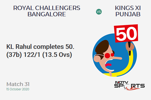 RCB vs KXIP: Match 31: FIFTY! KL Rahul completes 50 (37b, 1x4, 4x6). Kings XI Punjab 122/1 (13.5 Ovs). Target: 172; RRR: 8.11