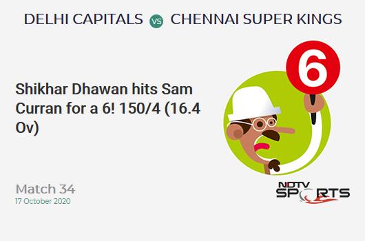 DC vs CSK: Match 34: It's a SIX! Shikhar Dhawan hits Sam Curran. Delhi Capitals 150/4 (16.4 Ov). Target: 180; RRR: 9.0