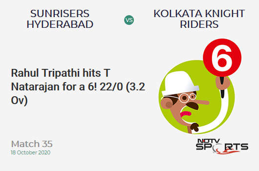 SRH vs KKR: Match 35: It's a SIX! Rahul Tripathi hits T Natarajan. Kolkata Knight Riders 22/0 (3.2 Ov). CRR: 6.6
