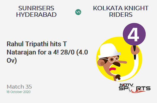 SRH vs KKR: Match 35: Rahul Tripathi hits T Natarajan for a 4! Kolkata Knight Riders 28/0 (4.0 Ov). CRR: 7