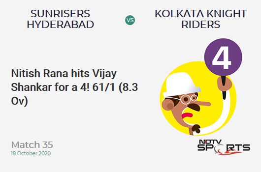 SRH vs KKR: Match 35: Nitish Rana hits Vijay Shankar for a 4! Kolkata Knight Riders 61/1 (8.3 Ov). CRR: 7.17
