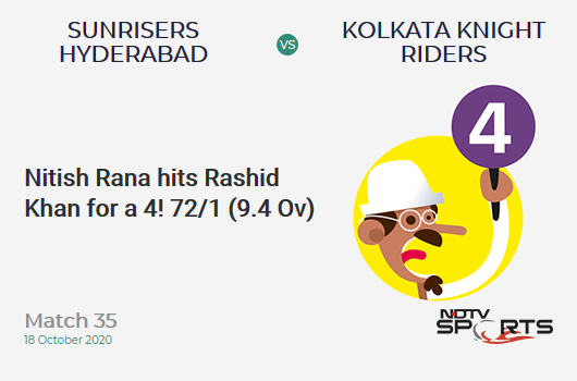 SRH vs KKR: Match 35: Nitish Rana hits Rashid Khan for a 4! Kolkata Knight Riders 72/1 (9.4 Ov). CRR: 7.44