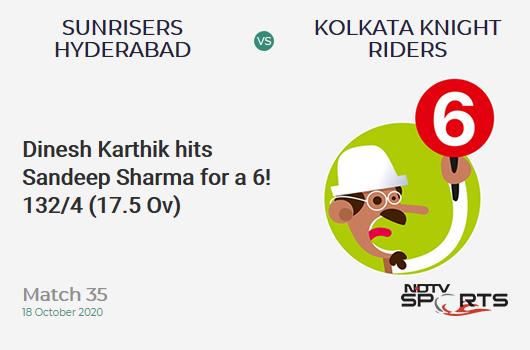 SRH vs KKR: Match 35: It's a SIX! Dinesh Karthik hits Sandeep Sharma. Kolkata Knight Riders 132/4 (17.5 Ov). CRR: 7.40
