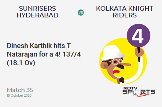 SRH vs KKR: Match 35: Dinesh Karthik hits T Natarajan for a 4! Kolkata Knight Riders 137/4 (18.1 Ov). CRR: 7.54