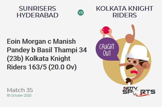 SRH vs KKR: Match 35: WICKET! Eoin Morgan c Manish Pandey b Basil Thampi 34 (23b, 3x4, 1x6). Kolkata Knight Riders 163/5 (20.0 Ov). CRR: 8.15