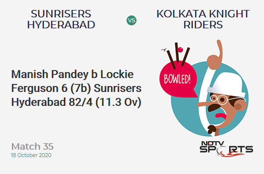 SRH vs KKR: Match 35: WICKET! Manish Pandey b Lockie Ferguson 6 (7b, 0x4, 0x6). Sunrisers Hyderabad 82/4 (11.3 Ov). Target: 164; RRR: 9.65