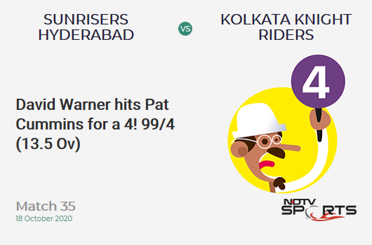 SRH vs KKR: Match 35: David Warner hits Pat Cummins for a 4! Sunrisers Hyderabad 99/4 (13.5 Ov). Target: 164; RRR: 10.54
