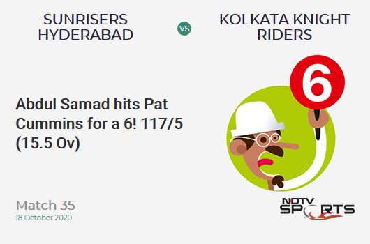 SRH vs KKR: Match 35: It's a SIX! Abdul Samad hits Pat Cummins. Sunrisers Hyderabad 117/5 (15.5 Ov). Target: 164; RRR: 11.28