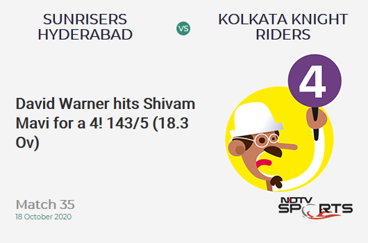 SRH vs KKR: Match 35: David Warner hits Shivam Mavi for a 4! Sunrisers Hyderabad 143/5 (18.3 Ov). Target: 164; RRR: 14.00