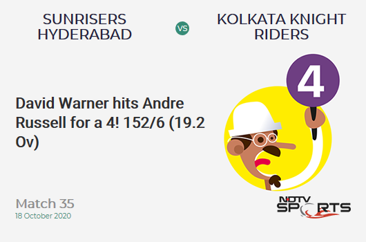 SRH vs KKR: Match 35: David Warner hits Andre Russell for a 4! Sunrisers Hyderabad 152/6 (19.2 Ov). Target: 164; RRR: 18