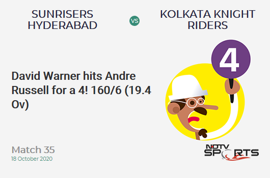SRH vs KKR: Match 35: David Warner hits Andre Russell for a 4! Sunrisers Hyderabad 160/6 (19.4 Ov). Target: 164; RRR: 12