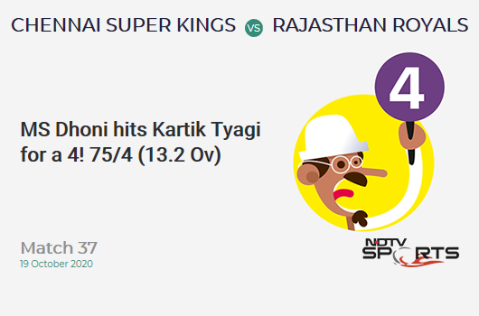 CSK vs RR: Match 37: MS Dhoni hits Kartik Tyagi for a 4! Chennai Super Kings 75/4 (13.2 Ov). CRR: 5.62