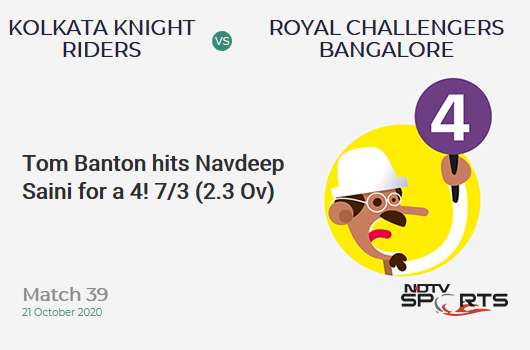 KKR vs RCB: Match 39: Tom Banton hits Navdeep Saini for a 4! Kolkata Knight Riders 7/3 (2.3 Ov). CRR: 2.8