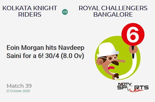 KKR vs RCB: Match 39: It's a SIX! Eoin Morgan hits Navdeep Saini. Kolkata Knight Riders 30/4 (8.0 Ov). CRR: 3.75
