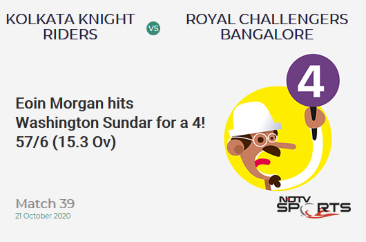 KKR vs RCB: Match 39: Eoin Morgan hits Washington Sundar for a 4! Kolkata Knight Riders 57/6 (15.3 Ov). CRR: 3.67