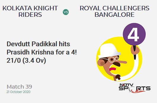 KKR vs RCB: Match 39: Devdutt Padikkal hits Prasidh Krishna for a 4! Royal Challengers Bangalore 21/0 (3.4 Ov). Target: 85; RRR: 3.92