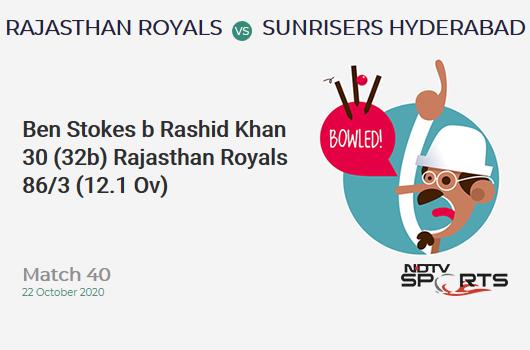 RR vs SRH: Match 40: WICKET! Ben Stokes b Rashid Khan 30 (32b, 2x4, 0x6). Rajasthan Royals 86/3 (12.1 Ov). CRR: 7.06